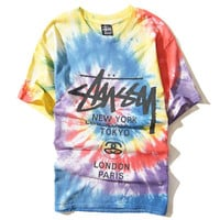 SWAG tie dye summer style doodle men t-shirt Harajuku unisex t shirt gagaopt Rainbow colorful top tees novelty shirts