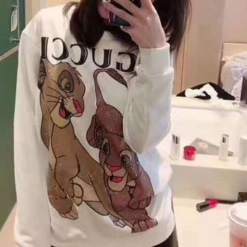 """""""Gucci"""" Woman Leisure Fashion Letter  Personality  Printing Loose Long Sleeve Tops Skirt"""