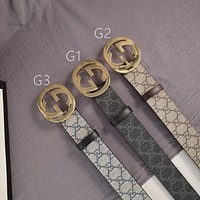 Gucci belt men's and women's classic embossed double G metal plate buckle casual belt gold buckle