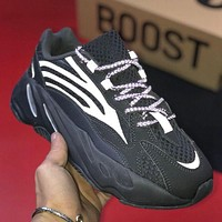 Adidas Yeezy Boost 700 Grinded leather weaving stitching shoes-1