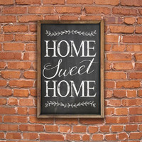 "Home Sweet Home chalkboard ""look"" wooden sign framed out in reclaimed wood.  Approx. 13.5""x19.5""x2"". Handmade."