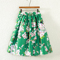 Green Vintage Floral Print Pleated Midi Skirt