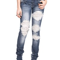 Lace Patch Straight Denim