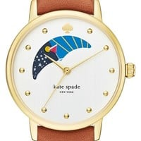 kate spade new york 'metro - moon' leather strap watch, 34mm | Nordstrom