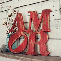 Amor Rustic Cutout Sign, Rustic Home Decor, Red Rustic Decor, Wedding Gifts, Engagement Gifts