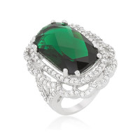 Green Cocktail Crest Ring, size : 09