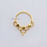 Handmade Gold Plated 925 Sterling Silver Nose Ring, Septum Piercing - Nose Jewelry - Real Septum - Nose Hoop - #6679
