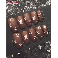 LV Louis Vuitton Frosted Surface False Nails 10pcs Full Set End Product Fake Nails
