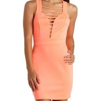 Neon Strappy Plunging Bodycon Dress - Hot Neon Coral