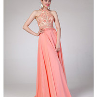 Preorder -  Coral Two Piece Cut Out Halter Dress 2015 Prom Dresses