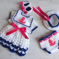 Baby Sailor Dress Hat and Diaper Cover in White and Navy Blue
