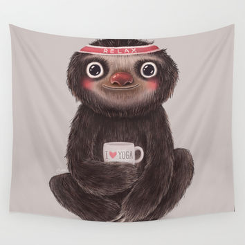 Sloth I♥yoga Wall Tapestry by Lime