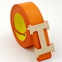 HERMES men and women models casual fashion belt Orange