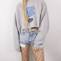 Vintage North Carolina Tar Heals Cropped Hoodie Sweatshirt