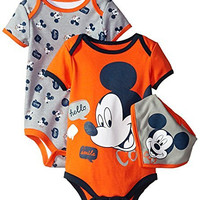 Disney Baby-Boys Mickey Mouse Bodysuit and Bib, Gray, 6-9 Months (Pack of 3)