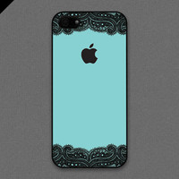 iPhone 5 case  Black lace and Teal color cases B  also by evoncase