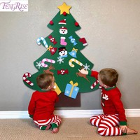 FENGRISE Kids DIY Felt Christmas Tree Decorations Xmas Hanging Ornaments Home Decor Happy New Year 2018 Children Christmas Gift