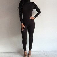Spring Fashion Women Jumpsuit Turtleneck Long Rompers Womens Jumpsuit Skinny Bodysuit Women Elegant Jumpsuit
