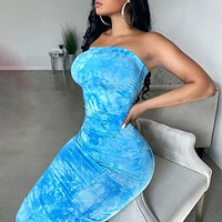 Tube topdressSexyPrinted dress with a collar blue