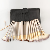 Professional  Very Soft 24pcs Makeup Brushes Set 24 Pcs Cosmetic Make Up Tools with Leather Case, Free Drop Shipping