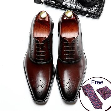 Men Genuine cow leather brogue wedding Business mens casual flats shoes 2019 black burgundy vintage oxford shoes for men's shoe