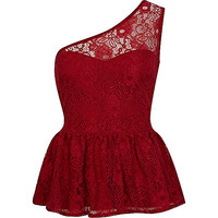 River Island Womens Red lace one shoulder peplum top