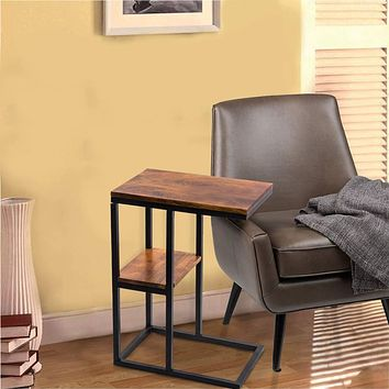 Iron Framed Mango Wood Accent Table with Lower Shelf, Brown