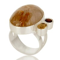 Handmade Citrine, Garnet And Rutilated Quartz Sterling Silver Cocktail Ring
