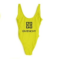 Givenchy Fashionable Women Logo Print Vest Style U Collar One Piece Bikini Swimsuit Bathing Yellow I-ZDY-AK