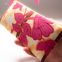 Fabric zipper pouch/ pencil case/ cosmetic pouch floral pink yellow
