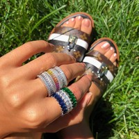 Newest Style Gradient Rainbow Color Rings Punck Rock Women Girls Austrian Crystals Gift Rings Dainty Female Nice Finger Jewelry