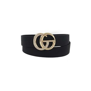 Rhinestone Letter Buckle Accented Belt