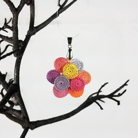 Paper Quilling Peony Flower Pendant - quilled pendant, quilling jewelry, paper jewelry, flower pendant, paper anniversary, first anniversary