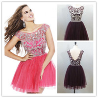 Elegant Crystal Beaded Short Cocktail Dresses With Sleeves Real Images 2014 Women Prom Party Dress of tulle-in Cocktail Dresses from Apparel & Accessories on Aliexpress.com | Alibaba Group