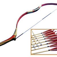 45/50# Chinese Handmade Traditional Recurve Bow and Arrows Set