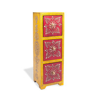 3 Drawer Almirah Mango Wood Chest - Yellow