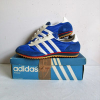 Vintage 70s SL ADIDAS Sneakers Royal Blue Nylon Suede White Stripes 1970s Trainers Womens 9.5 Made in West Germany