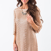 Marilyn Gold Sequin Scallop Dress