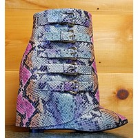 "Nelly B High Life Multi Color Snake Fold-over Ankle Boot 4"" High Wedge Heel Shoe"