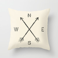Compass (Natural) Throw Pillow by Zach Terrell