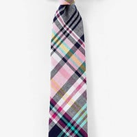 NARROW LINEN-COTTON TIE - PLAID from EXPRESS