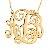 24K Gold Plated Split Chain Monogram Necklace - Onecklace