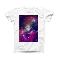 The Vibrant Sparkly Pink Space ink-Fuzed Front Spot Graphic Unisex Soft-Fitted Tee Shirt