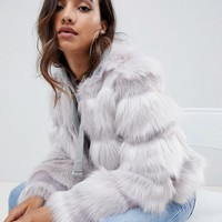 ASOS DESIGN textured faux fur coat at asos.com