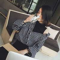 Buy EFO Mock Two Piece Tank Top Panel Striped Shirt | YesStyle