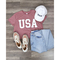 Distracted - USA Crop Top Graphic Tee in Mauve/White