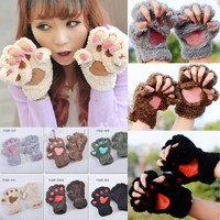 Womens Lovely Animal Bear Cat Claw Paw Mitten Plush Glove Halloween Costume Gift Winter Half Finger Warm Gloves Mittens -in Gloves & Mittens from Women's Clothing & Accessories on Aliexpress.com | Alibaba Group