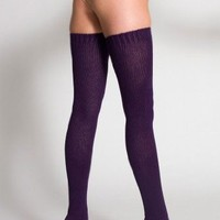 American Apparel Cotton Solid Thigh-High Socks - Imperial Purple / One Size