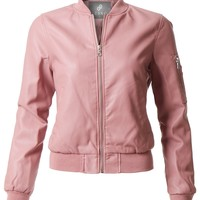 LE3NO Womens Lightweight Faux Leather Varsity Bomber Jacket with Pocket