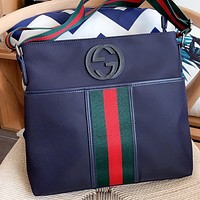 GUCCI Fashion New Stripe Shoulder Bag Crossbody Bag Blue